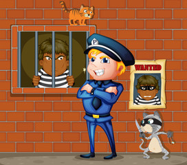 A prisoner at the jail and the policeman