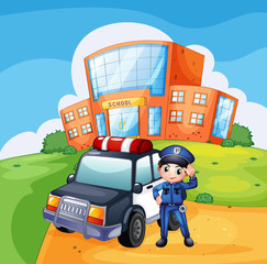 Wall Murals Cars A patrol car and the policeman near the school