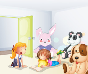 A room with kids and animals