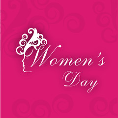 Greeting card or background for Women's Day on pink background.