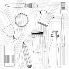 Products and Barcodes, vector seamless background.