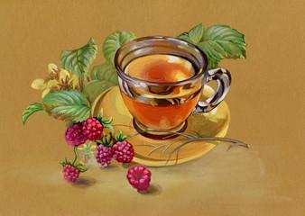 tea and raspberry