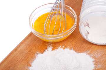 flour and beaten eggs