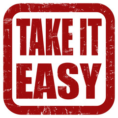 Grunge Stempel rot quad TAKE IT EASY