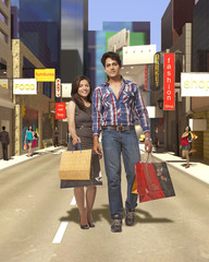 Couple with Shopping Bag