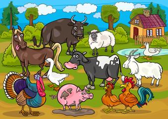 Poster Ranch farm animals country scene cartoon illustration