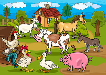 Poster Ranch farm animals rural scene cartoon illustration