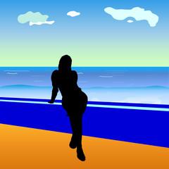 girl and sea vector illustration