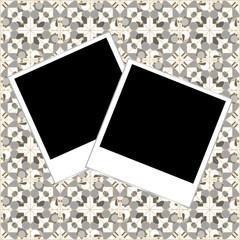 blank photo frame set polaroid on vintage background