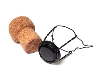 Champagne wine cork and black muselet