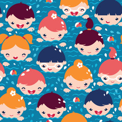 vector children swimming seamless pattern background with hand