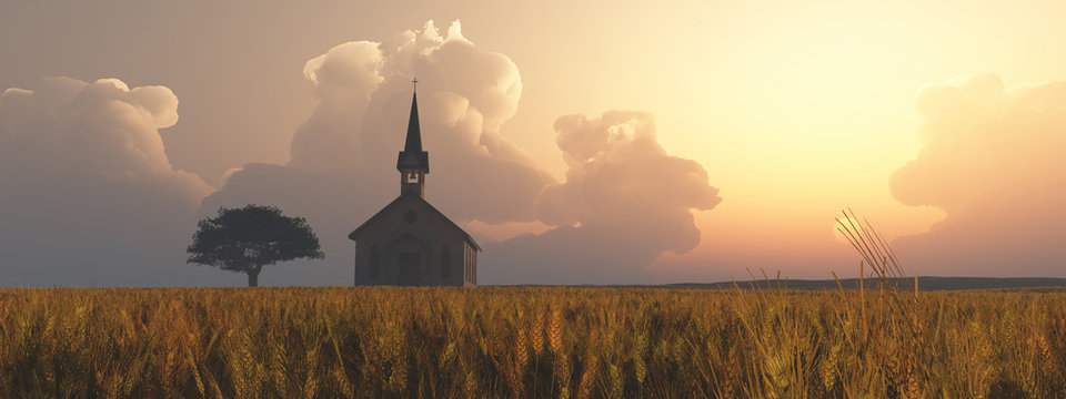 Prarie Church Sunset