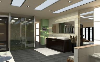 Geräumige und moderne Badezimmer