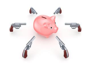 Revolvers around pink piggy bank.