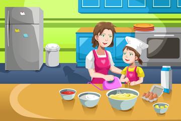Mother daughter baking
