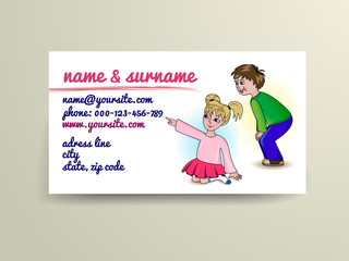 Vector business or invitation card with small boy and girl