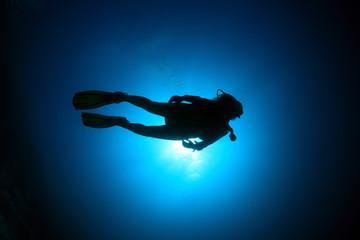 Foto op Canvas Duiken Taucher im Meer