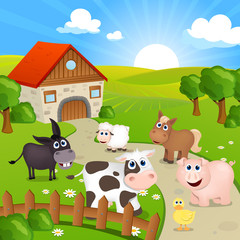 Poster Ranch Vector Illustration of Farm Animals