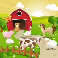 Poster Dogs Vector Illustration of Farm Animals