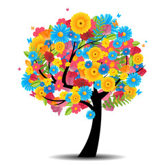 Vector Illustration of an Abstract Tree with Flowers