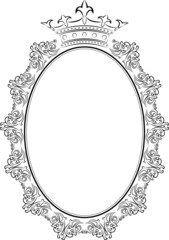frame oval with crown