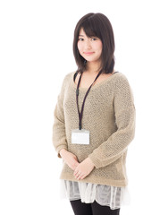 a young asian woman on white background