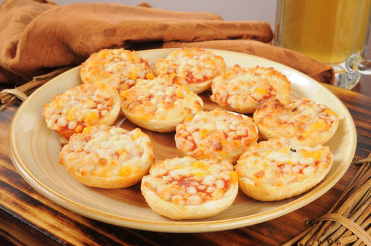 Bagels with pizza toppings