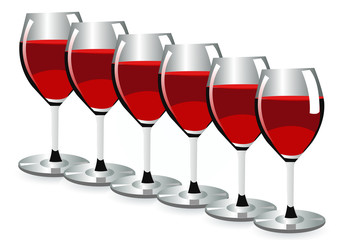 A row of red wine glassess