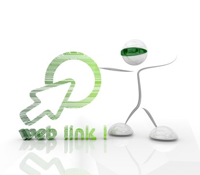 futuristic weblink 3d icon with 3d character