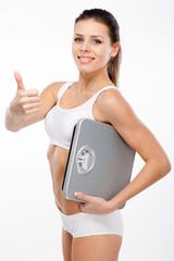 Beautiful slim woman on white background
