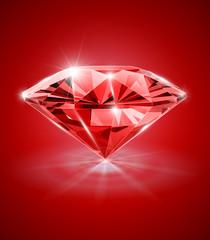 diamond on red background vector illustration EPS10.