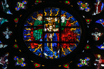 Stained glass window in Santa Maria del Mar church. Barcelona, S