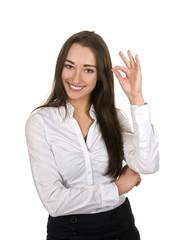 Geschäftsfrau zeigt ok