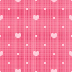 Seamless pattern. Hearts and dots on pink linen background
