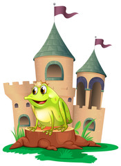 A frog prince with a castle at his back