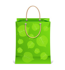 Vector paper shopping bag isolated on white