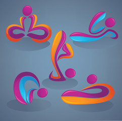 yoga practice, people look like a ribbons, vector collection of