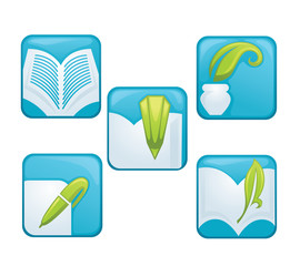 vector collection of reading, books and educational icons