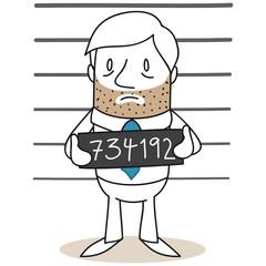Geschäftsmann, Polizeifoto, Mug shot, Häftling, Krimineller