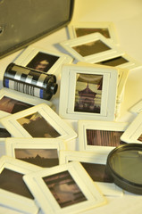Pile of old film slides of art and culture memories