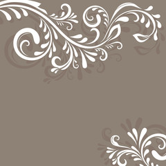 Beige vector background with floral ornament