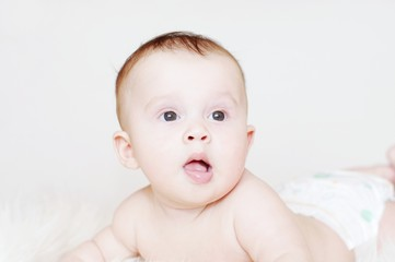 The surprised five-months baby