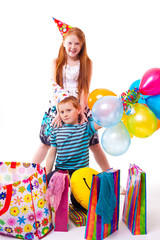 redhead sister and brother celebrates birthday
