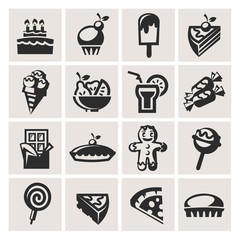 Collection of icons. Desserts.