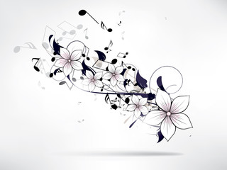 abstract musical floral background