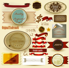 Collection of vintage labels and ribbons for design