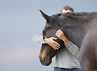 Türaufkleber Pferde Mann und Pferd.