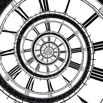 Clock face stretching as a spiral into infinity with stars