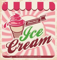 Ice cream retro poster