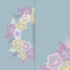 Floral template greeting card with pastel flowers